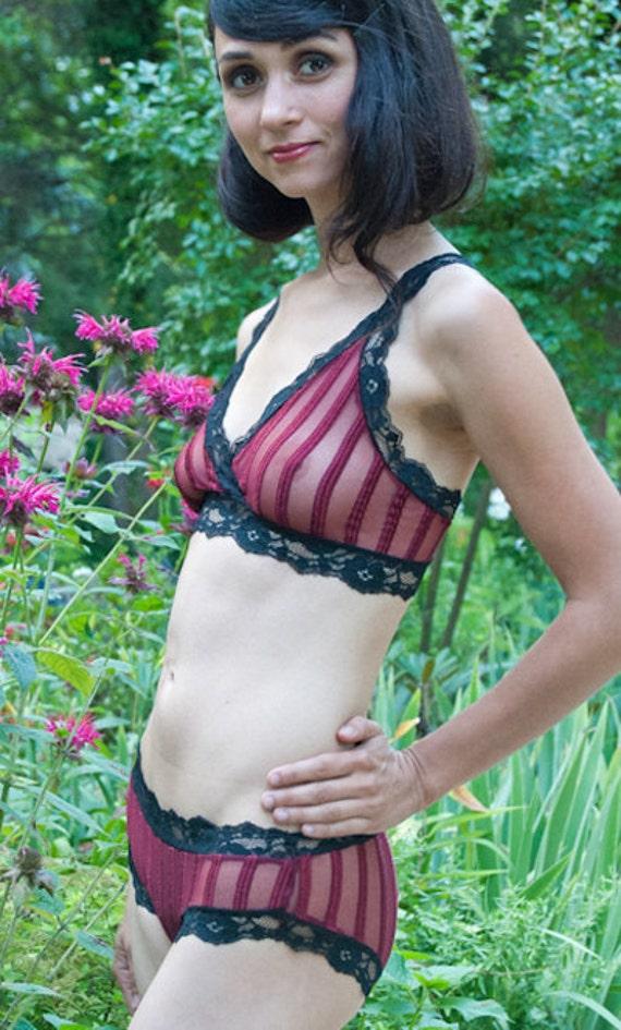 Bra - Burgundy Red Sheer Striped 'Summersweet' Bra - Made To Order Womens Lingerie