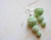 Green Midori. Melon Fluted Earrings.