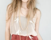 Layered Chain Statement Necklace, Multi Chains and Feathers - Murmures en novembre