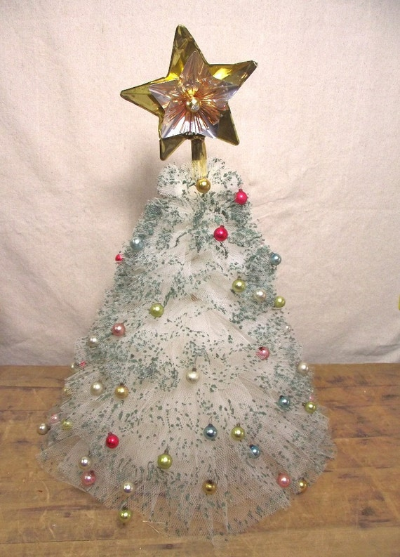 Vintage Tulle Christmas Tree Hand Made Craft from the past.