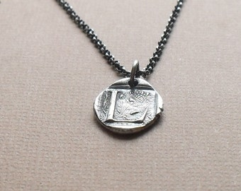 Rustic Wax Seal Initial Necklace - Made to Order