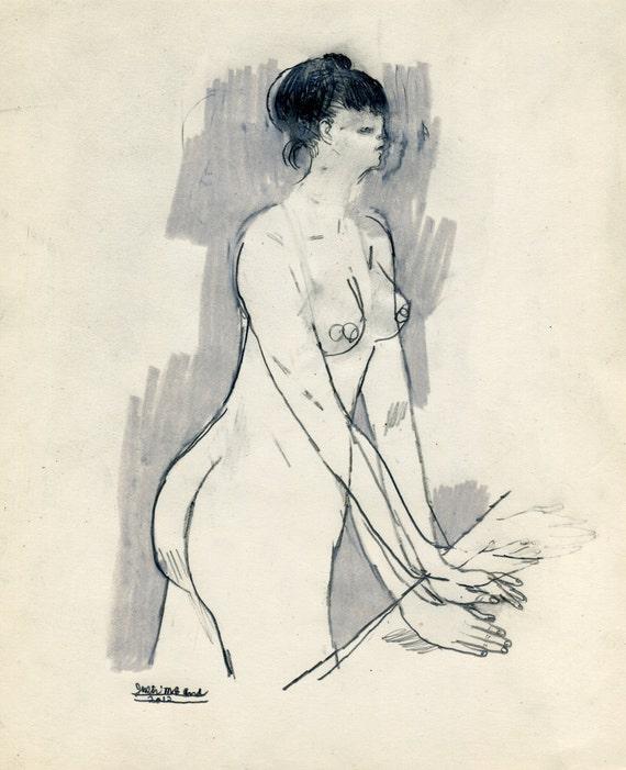 OCTOBER SALE - Naked Woman (original drawing, 2012)