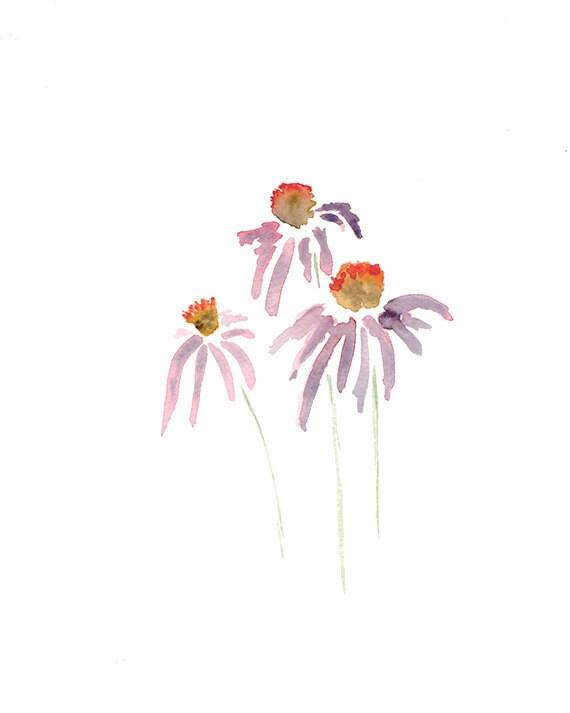 Purple Coneflowers Print from Original Watercolor, Flower Wall Art, Purple and Pink Pastel Tones, Botanical Flower Print