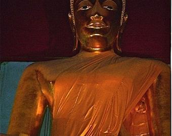 gold saffron black orange photograph sitting Golden Buddha abstract Asia Thai color  Saffron drape