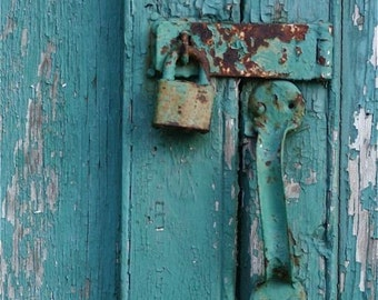 "Door Turquoise blue gold rust  photograph cemetery door lock handle close up "" LOCKED""  Southwest wall decor decorative art"