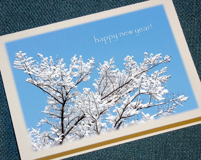 Featured listing image: Snowy Branches Happy New Year Cards