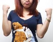 Women's Haymaker Deep V-Neck, Bear tshirt, animal, funny, available S L XL 2XL