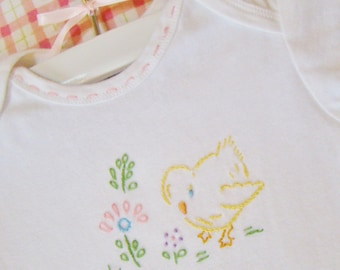 Sweet Little Chick With Flowers - Hand Embroidered Onesie - Vintage Style Baby Girl