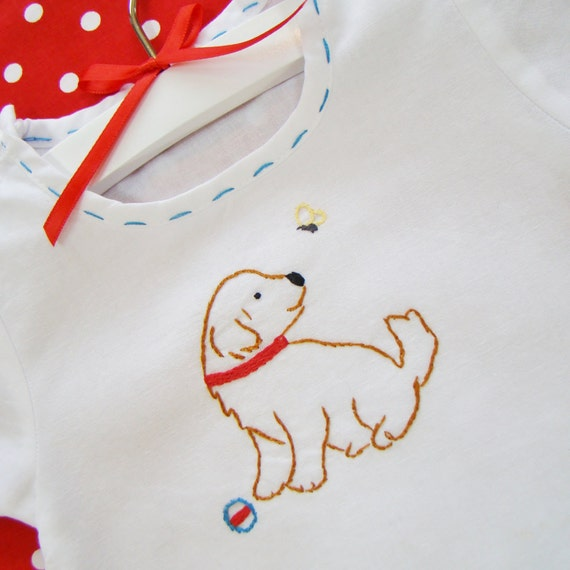 Puppy And Friend - Hand Embroidered Vintage Style Romper (Made To Order Any Size)