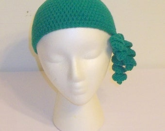 Crocheted Corkscrew  Cloche - Real Teal Blue - Ready to Ship