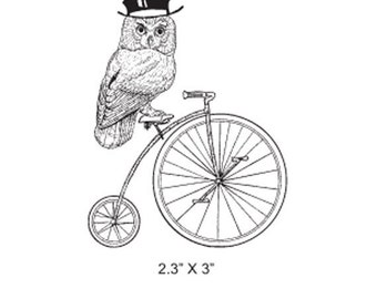 Owl With Top Hat on a Penny Farthing Cycle Rubber Stamp 335