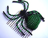 Green Beaded Spider HairSlide - Cynthia