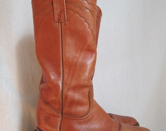 Giddy Up - Vintage 1960s 70s Frye Caramel Leather Campus Boots 10