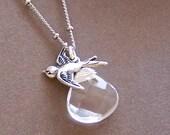Set Me Free-Clear Crystal Quartz Faceted  Briolette/Bird Charm Pendant Silver Necklace-(9859)