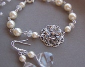 Bridesmaids Earrings, Custom Swarovski Pearl and Crystal, Flower Jewelry - Bridal Jewelry - 3045