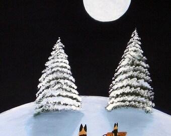 German Shepherd Dog SNOWY HILL folk art print of Todd Young painting