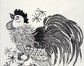 Gong-ji - The Rooster - Linocut, 10th in Chinese Zodiac - Limited Edition - Black and White Lino Block Print Rooster with Chinese Character