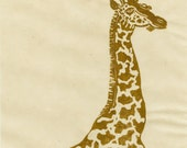 Giraffe Linocut - Lino Block Print of a Giraffe in Gold Ink on Ivory Japanese Paper