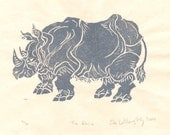 The Rhino Linocut- Limited Edition - Lino Block Print Rhinoceros, Silver on White, Art Print