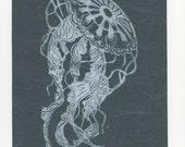 Jellyfish Linocut on Japanese Paper - Handprinted Jellyfish Lino Block Print