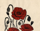 Poppies Linocut, first edition Lino Block Print, White, Black, Red, Floral, Poppies for Remembrance