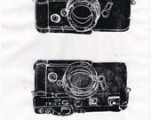 Shoot - Classic SLR Film Camera Lino Block Print, Leica M6, Linocut of a Leica Camera