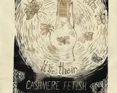 It's Not the Moths 2 - Linocut - Lightbulb with Moths Lino Block Print Broadside Poster Against Moth-eaten Cashmere