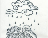 Shang Yang the Bird that Makes the Rain Linocut - Imaginary, Mythical Bird with Rain Cloud Print Illustration