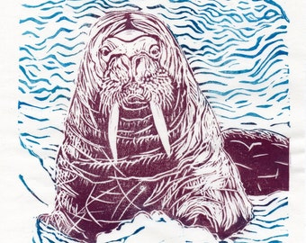 Winter Walrus - limited edition lino block print - Linocut Walrus - Arctic Ocean Mammal - Art Print