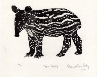 Tapir Baby Linocut - Black and White Block Printed Animal - Cute Baby Malayan Tapir Lino Block Print
