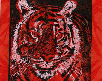 Tiger Linocut on Leafy Patterned Paper - Lino Block Print Tiger, Natural History, Orange, Black and White