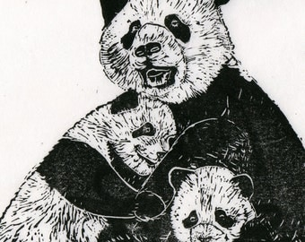 Panda Family Linocut - Black and White Mama Panda with Babies Print