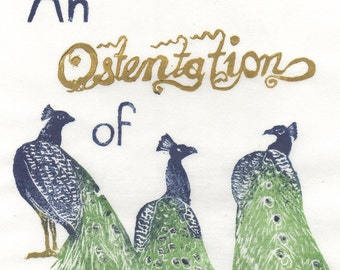 An Ostentation of Peacocks Linocut - Terms of Venery, Collective Noun for Animals, Birds, Typography & Peacocks Lino Block Print
