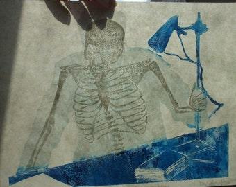 Roentgen X-ray Thermochromic Linocut Reveals Skeleton When Heated