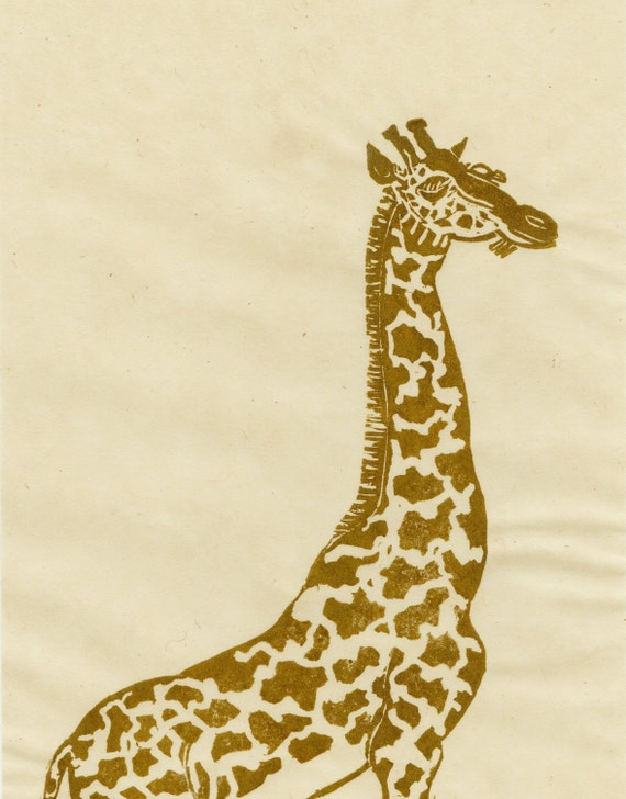 Giraffe Linocut - Lino Block Print of a Giraffe in Gold Ink on Ivory Japanese Paper