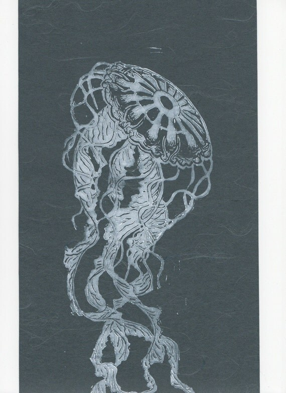 Jellyfish Linocut on Japanese Paper - Handprinted Jellyfish Lino Block Print