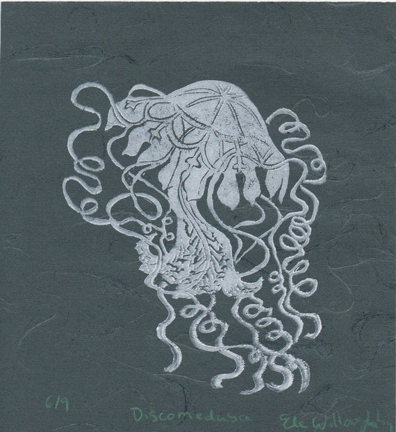 Discomedusa Jellyfish Linocut on Japanese Paper - Lino Block Print, White on Blue, Lovely Jellyfish Discomedusa, Marine Biology