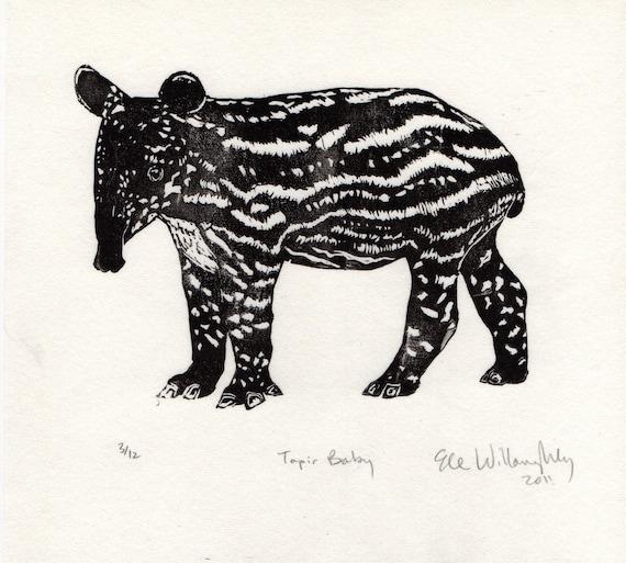 Tapir Baby Linocut - Black and White Block Printed Animal - Cute Baby Malayan Tapir Lino Block Print
