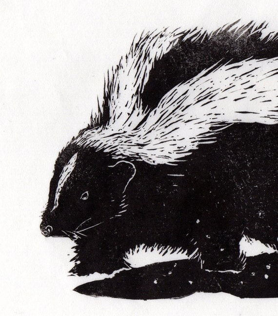 Skunk Marching Through Snow Linocut - Black and White Print - Winter Scene