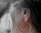 Super Black Nebulous - silver earrings - black  wire spiral hoops