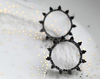 Black sun -  post silver earrings, studs