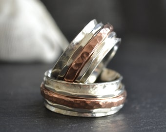 Threesome - Spinner silver and copper ring - Wedding bands