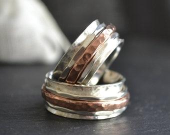 Manège à trois - bague en argent avec tour en cuivre