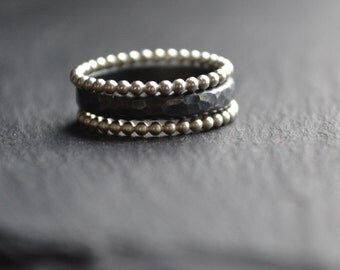 Beaded and hammered stacking silver rings
