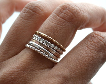 Grape VI . silver and 14kt Gold Filled rings . stacking rings