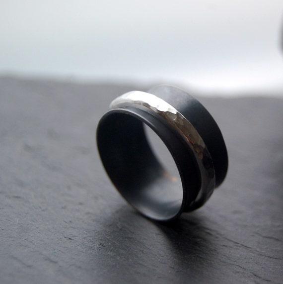 Night - spinner silver ring, male wedding ring