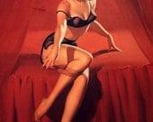 ELVGREN - I'm Not Shy - Pin-Up Burlesque Bedroom show lingerie Nylons Stockings Pinup