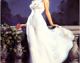 Valentine ELVGREN - DREAM GIRL - Marilyn Monroe - Romantic Gown Dress  Pin-Up Stockings Art deco Lingerie Wwii 1940's Nose Art Pinup