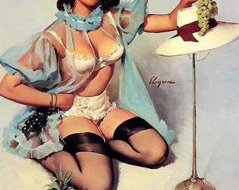 ELVGREN - TASTY TREAT -  8 X 11 Print - pinup calendar art. Lingerie stockings negligee cheese cup cake pin-up