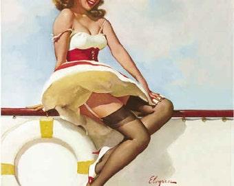 ELVGREN SAILOR GIRL Burlesque - Pin-Up Modern Deco -Bathroom pinup -Up skirt, nylons, Stockings, Garter Belt